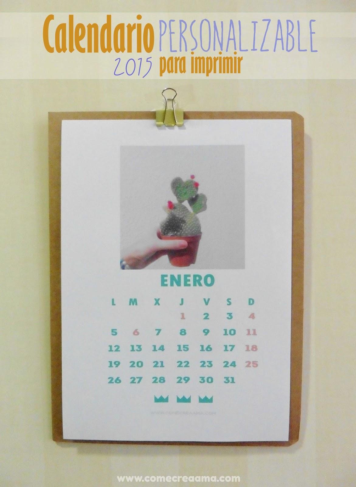 Calendario con fotos para imprimir