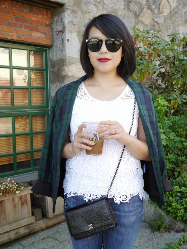 Transitional summer-to-fall dressing: Plaid blazer, white lace top, Chanel WOC, red lipstick, Karen Walker sunnies