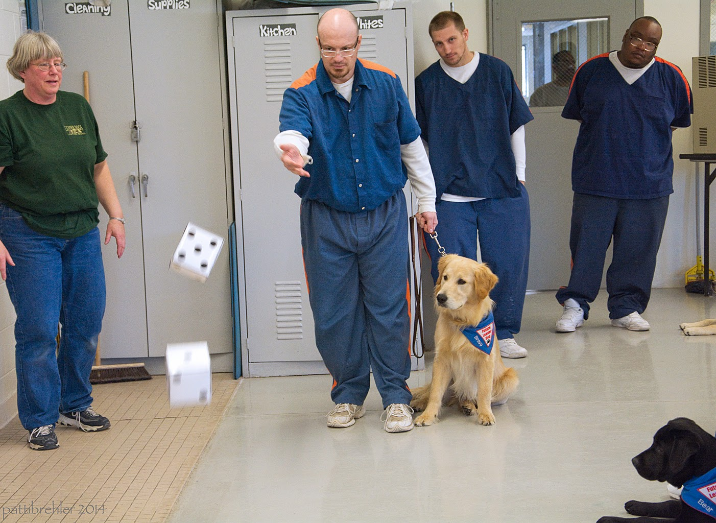 A woman dressed in a green t-shirt and blue jeans is standing on the left side in front of a grey cabinet. A man dressed in the prison blue uniform with glasses just threw a pair of six inch dice. He is holding the leash of a golden retriever in his left hand. The golden is sitting on his left isde, leaning and looking at the dice. The puppy is wearing the blue Future Leader Dog bandana. Two other men dressed in the prison blue uniforms are standing behind and to the right. At the bottom right corner is the head and front paws of a black lab puppy, wearing the same blue bandana. The puppy is lying down on the painted cement floor and looking at the dice.