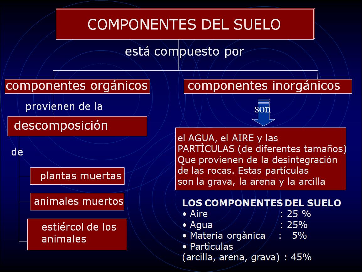5 curso de educaci n primaria tema 4 la tierra for Componentes quimicos del suelo
