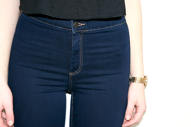 Katherine Penney Chic Blogger Fashion Haul Navy Blue Topshop Jack Wills Lace Shirt Top Jeans skinny high waisted