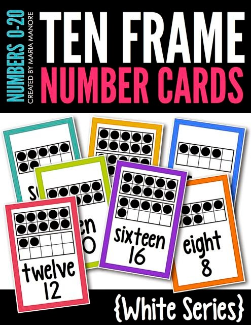 Ten Frame Number Cards White Series