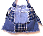 SOLD~Denim Blue Jean Country Plaid Drawstring Handbag