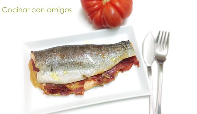 Trucha rellena de jam n y tomate cocinar con amigos for Cocinar habas con jamon