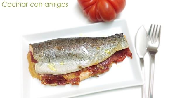 Trucha rellena de jam n y tomate cocinar con amigos - Como cocinar la trucha ...