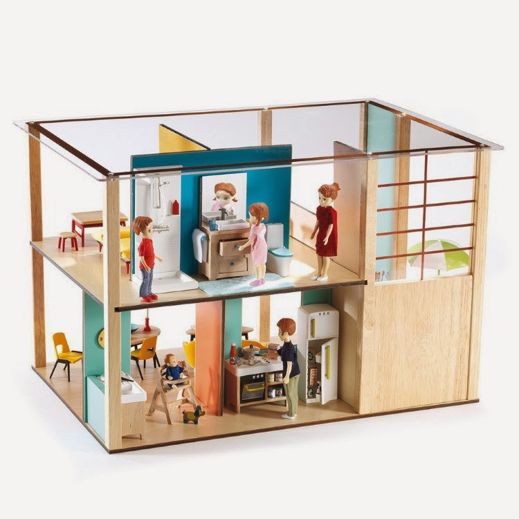 mini modern 1 16 djeco dollhouse is throwback modern cuteness. Black Bedroom Furniture Sets. Home Design Ideas