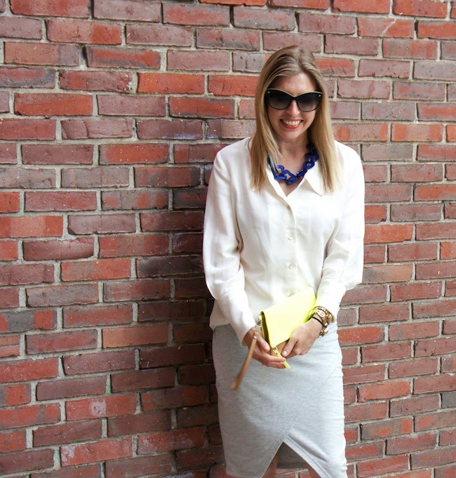 blue licorice necklace, white NIC+ZOE blouse, wrap ASOS skirt, neon clutch