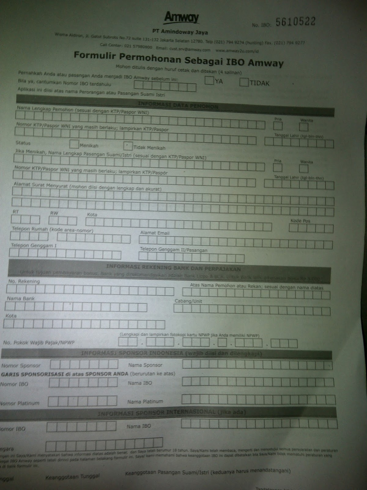 Formulir Pendaftaran AMWAY