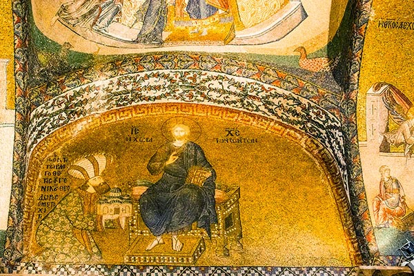 Mosaic of Theodore Metochites presenting a model of his church to enthroned Christ