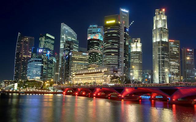 Paisajes de Ciudades: Ciudad de Singapur en la Noche