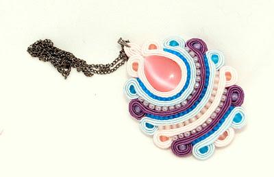 sutasz naszyjnik wisior  soutache pendant necklace 7a