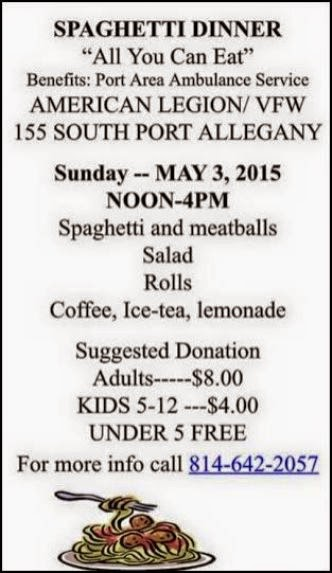 5-3 Spaghetti Dinner, Legion, Port Allegnay