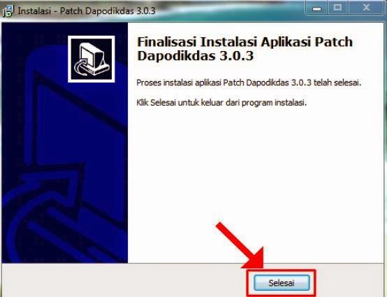 Finalisasi instalasi Aplikasi Patch Dapodikdas 3.0.3