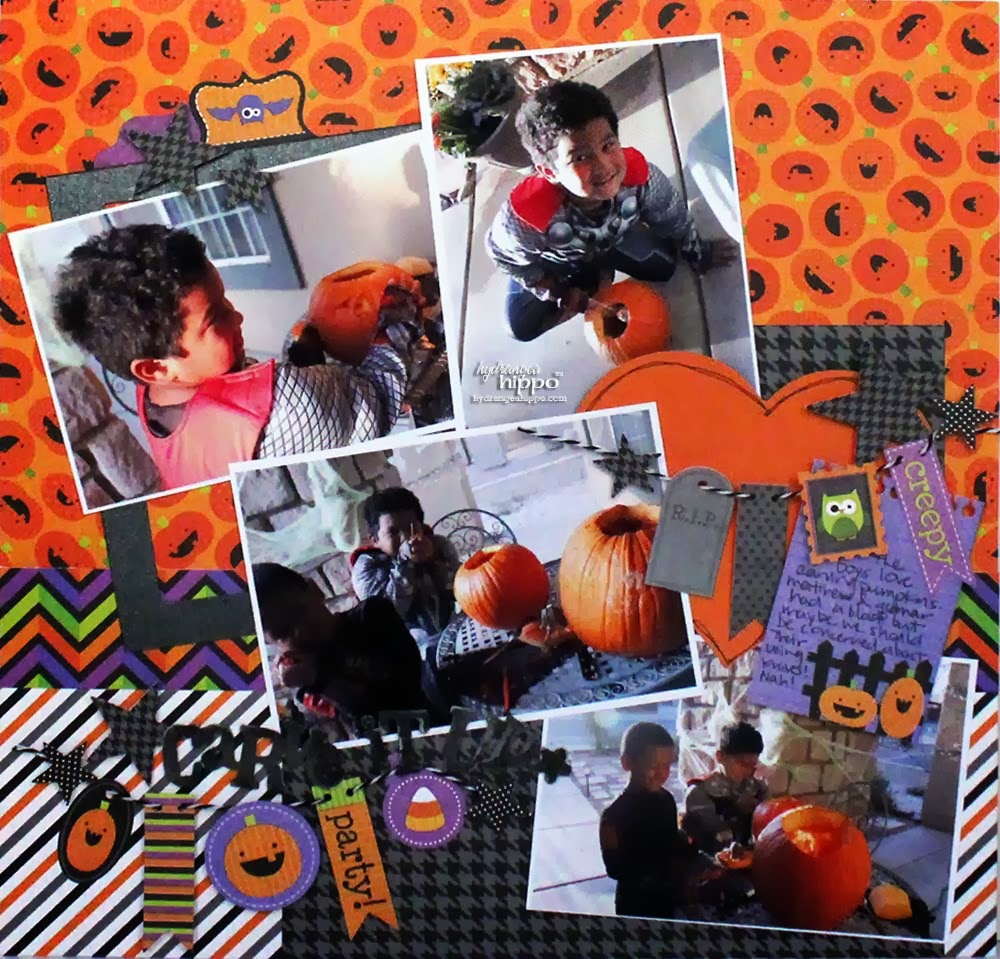 layout a week carve it up   scrapbooking halloween