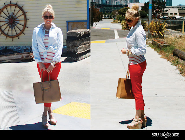 Savvy+Spice+nautical+collage,+denim+top,+red+pants,+striped+top,+sunglasses