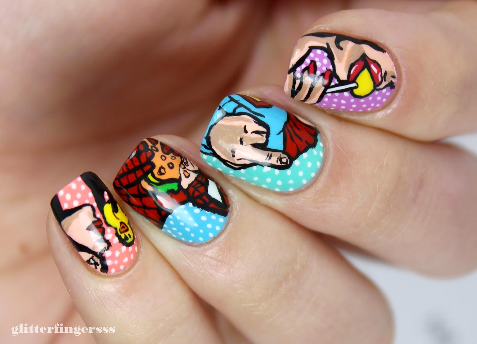 Nail Art Funny Superhero Pop Art Glitterfingersss In English