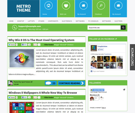 Metro theme Blogger template