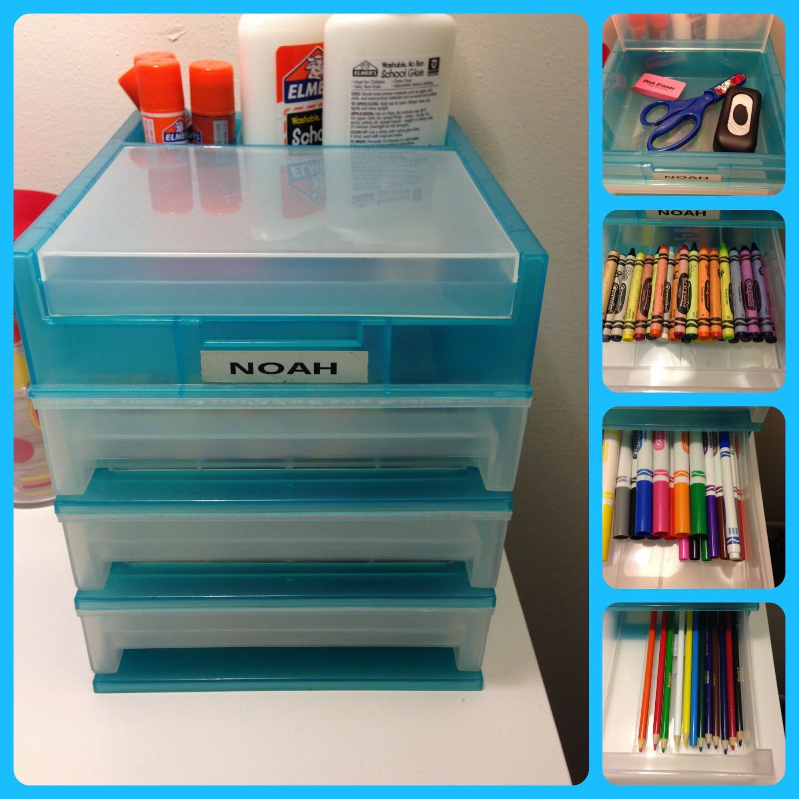 Noah Has The Same Desk Top Organizer, Under His Plastic Lid Are Scissors  And Erasers. Drawer 1 Is Crayons, Drawer 2 Has Markers, And Drawer 3 Holds  His ...
