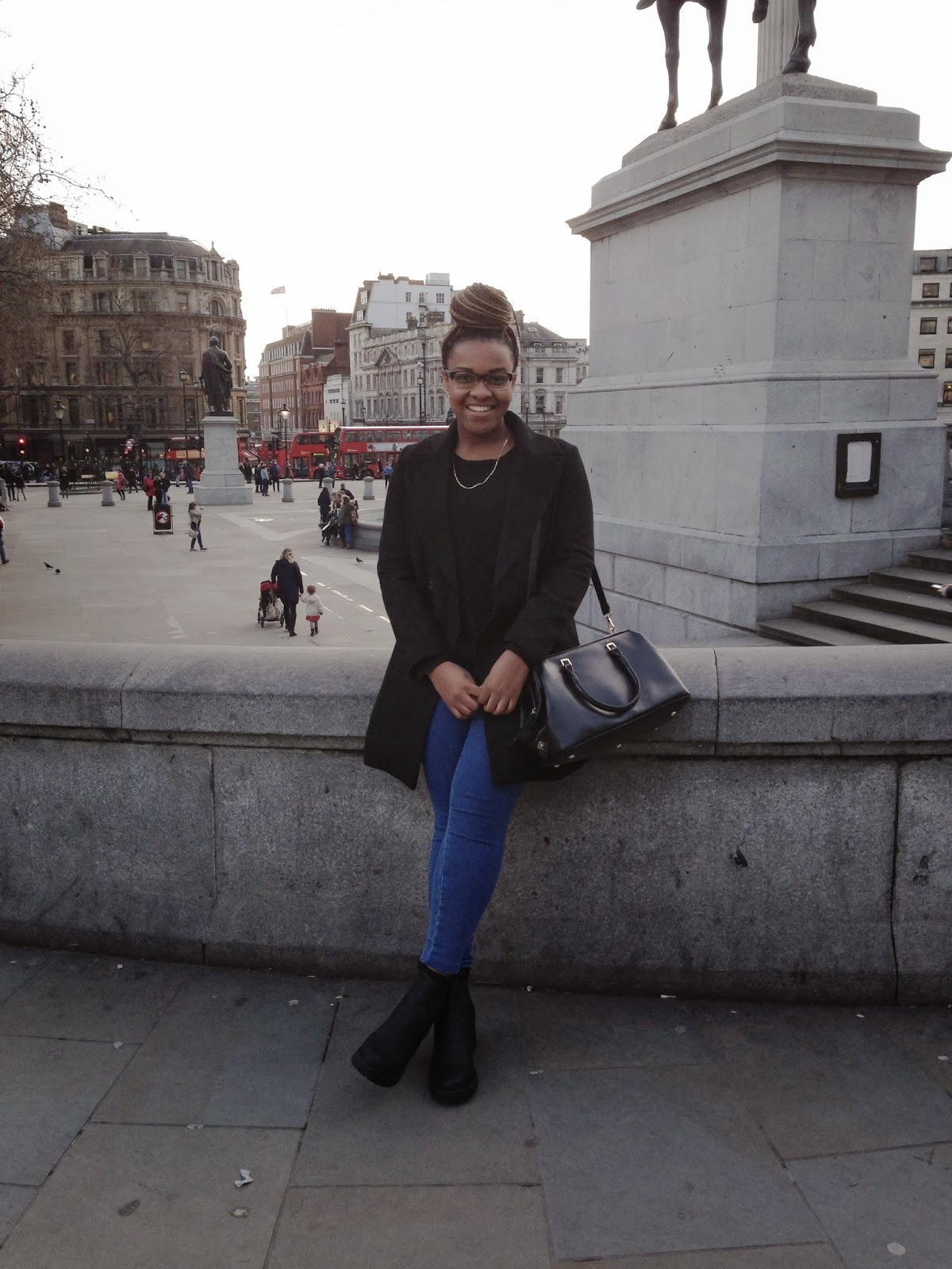 Trafalgar Square London New Look Chunky Chelsea Boots ASOS Blue Uber High Waisted Jeggings Zara Black Double Breasted Coat