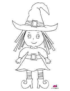 a halloween digi stamp witch large in high resolution eri doodle freebie hand drawn