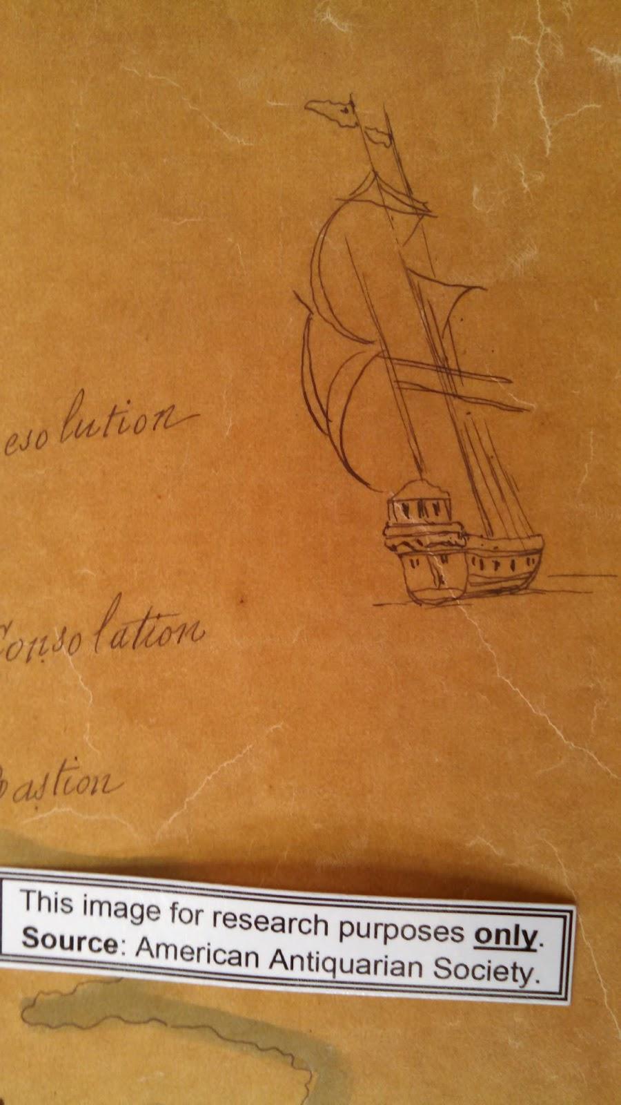 small sketch of a sailing ship