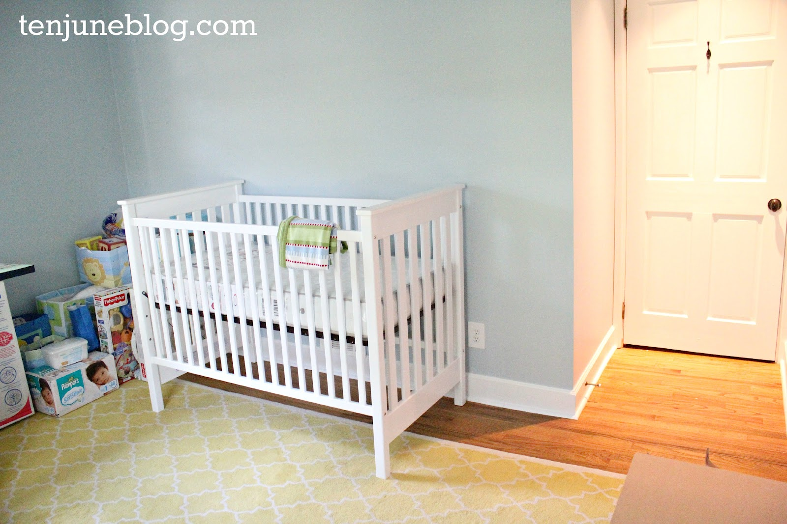 Ten June Nursery Update A Freshly Painted Baby Boy S Room Sherwin Williams Emerald Paint Review