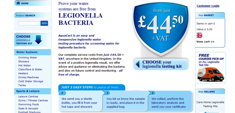 reputable online source for Legionella testing kits