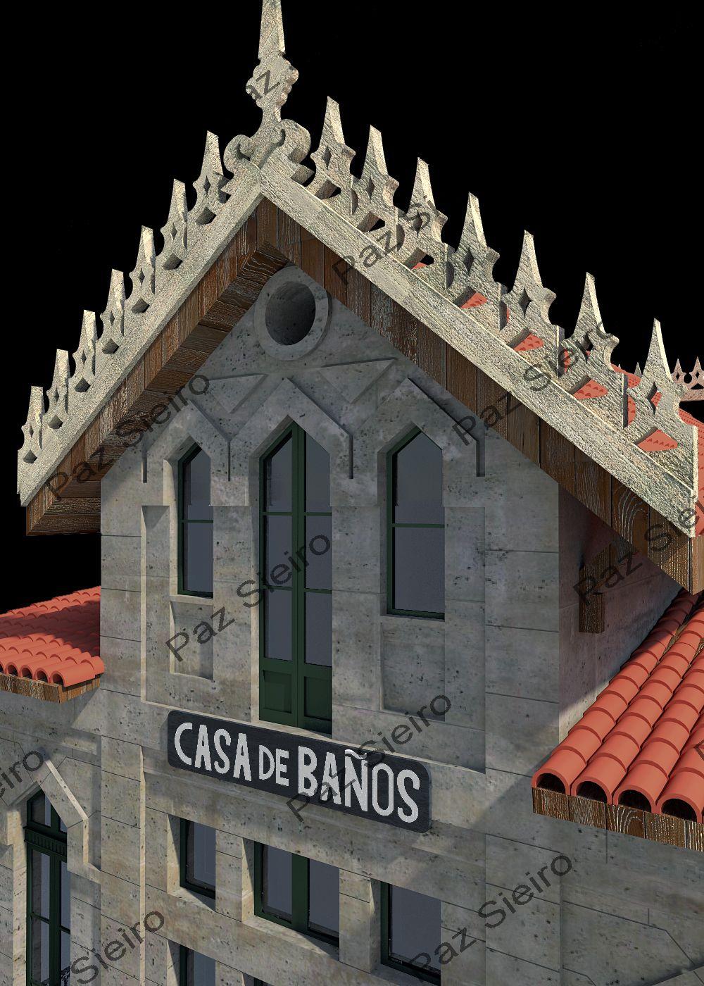Works 3d edificio casa de ba os termas de outeiro 1899 - Arquitectos ourense ...