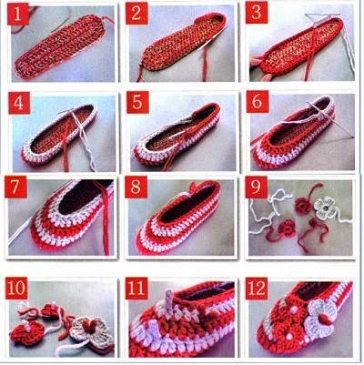 Zapato femenino tejido con ganchillo - paso a paso en fotos