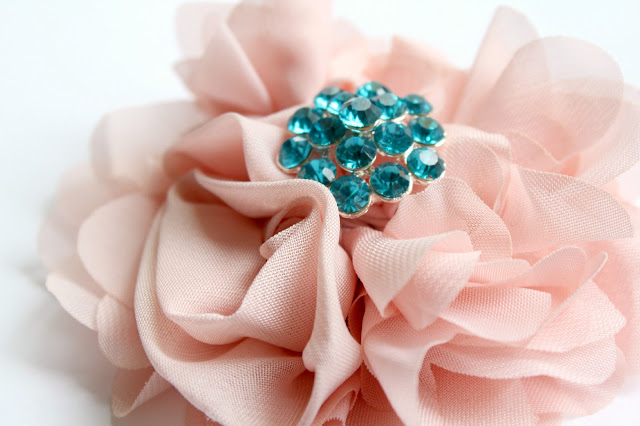 pink hair flower with turquoise rhinestone - catherine masi / summer 2013