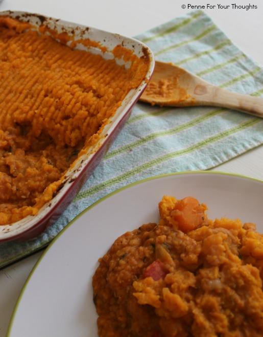 Vegetarian shepherd's pie with red lentils