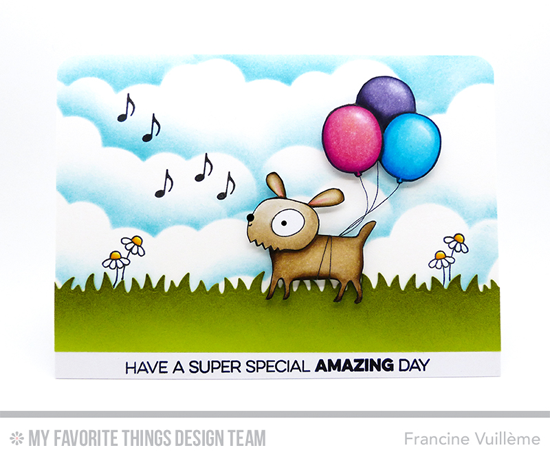 Amazing Day Card by Francine Vuillème featuring the Top Dog, Amazing, Birdie Brown Adorable Elephants, and Miss Tiina Happy Pandas and Tweet on You stamp sets and the Grassy Fields and Stitched Cloud Edges Die-namics #mftstamps