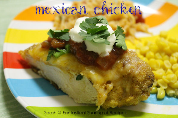 Mexican Chicken - with a seasoned cornmeal crust and colorful toppings, this chicken stands out on any plate!