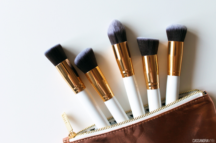 CHEAP EBAY FINDS // White + Gold 5 Piece Kabuki Brushes - CassandraMyee