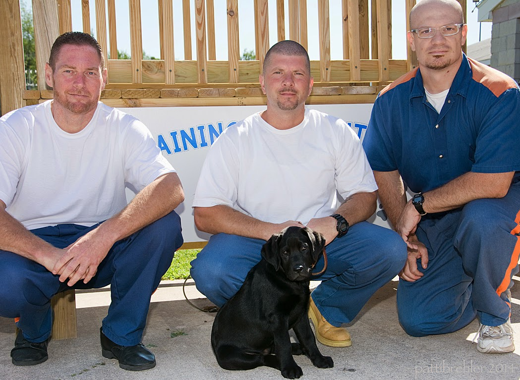 Three men squat in front of a wooden staircase wearing blue prison pants, the two men on the left are wearing white t-shirts, the man on the right is wearing the blue prison shirt. In front of the middle man sits a small black lab puppy. Everyone is looking at the camera.