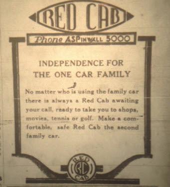 Red Cab ad, 1937