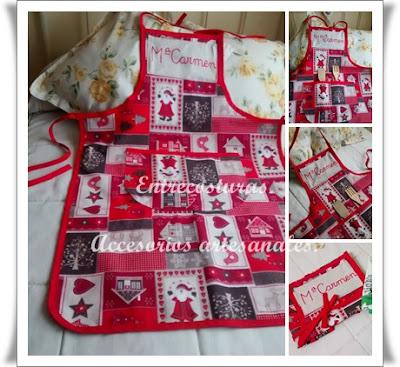 Delantal Navidad-rojo adulto. Entrecosturas. Accesorios artesanales