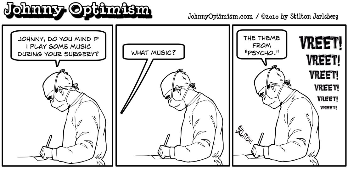 Johnnyoptimism, johnny optimism, medical humor, wheelchair, stilton jarlsberg, doctor jokes, surgeon, surgery