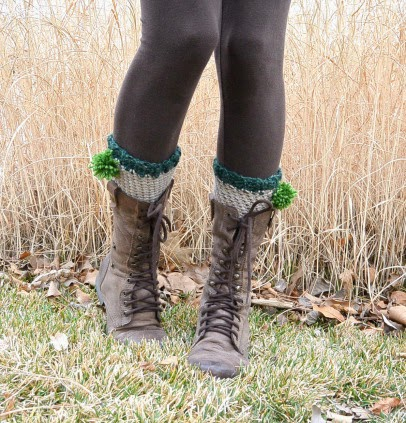 free crochet pattern boot cuff with pom poms