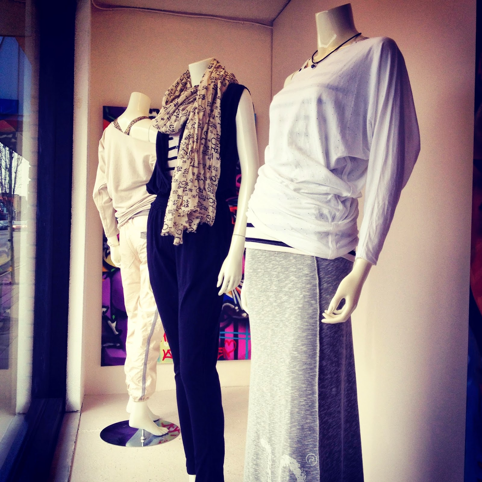 Window Display featuring 10 Days fashions. Visual Merchandising.