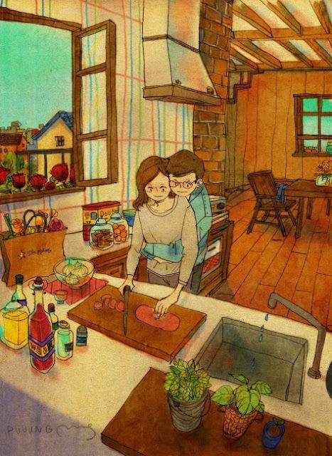 vie quotidienne illustration de l'artiste coréen puuug l'amour au quotidien d'un couple amoureux
