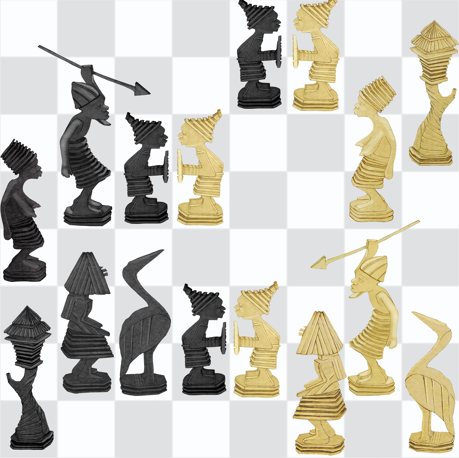 coleccion Carsi, museo etnologia, figuras ajedrez, Congo