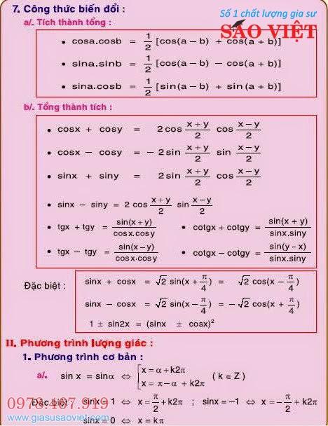 Công thức biến đổi tích thành tổng, tổng thành tích và phương trình lượng giác.