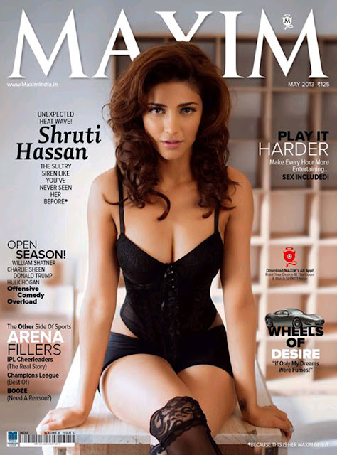 Shruti Hassan Latest Hot Still on Maxim Magazine Cover Page