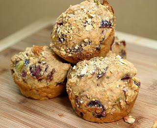 Spiced Cranberry Pistachio Muffins 1