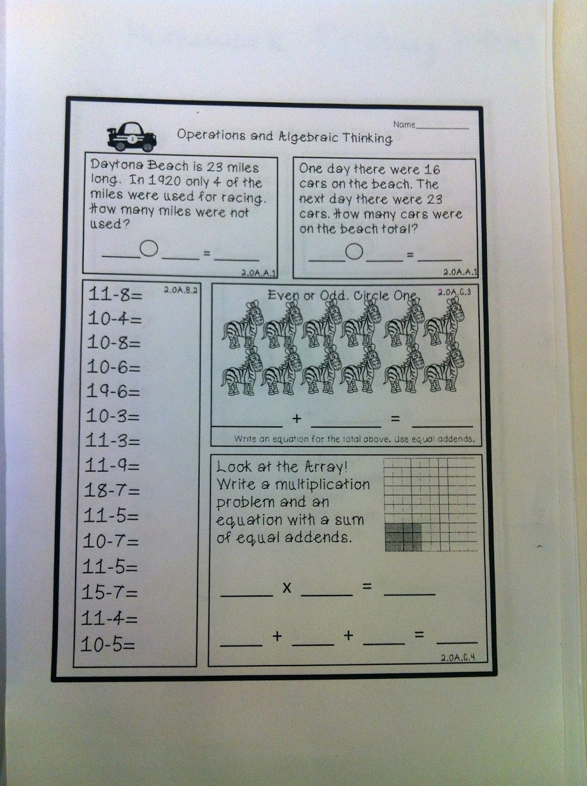 Miss Ratcliff\'s 2nd grade Scientists: Math Homework: 1-17