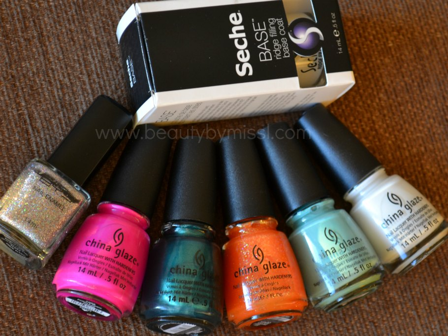 Seche Base, BYS Glitter Crystal, China Glaze Purple Panic, Outta Bounds, Dreamsicle, For Audrey, White on White