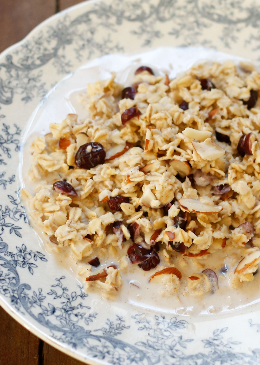 Slow Cooker Cranberry Almond Oatmeal | get the recipe at barefeetinthekitchen.com