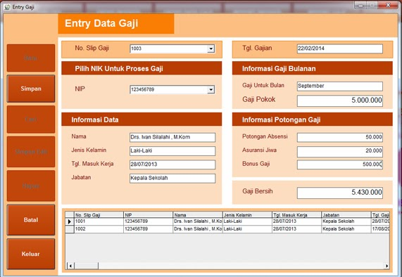Form Entry Data Gaji
