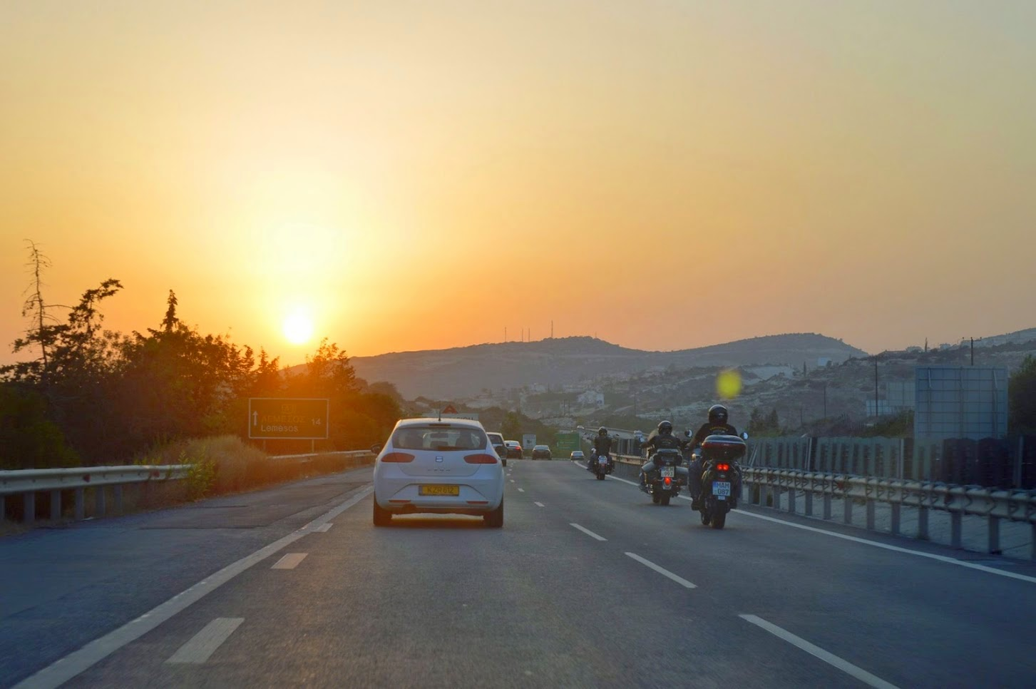 Driving to Limmasol from Nicosia in Cyprus during sunset.